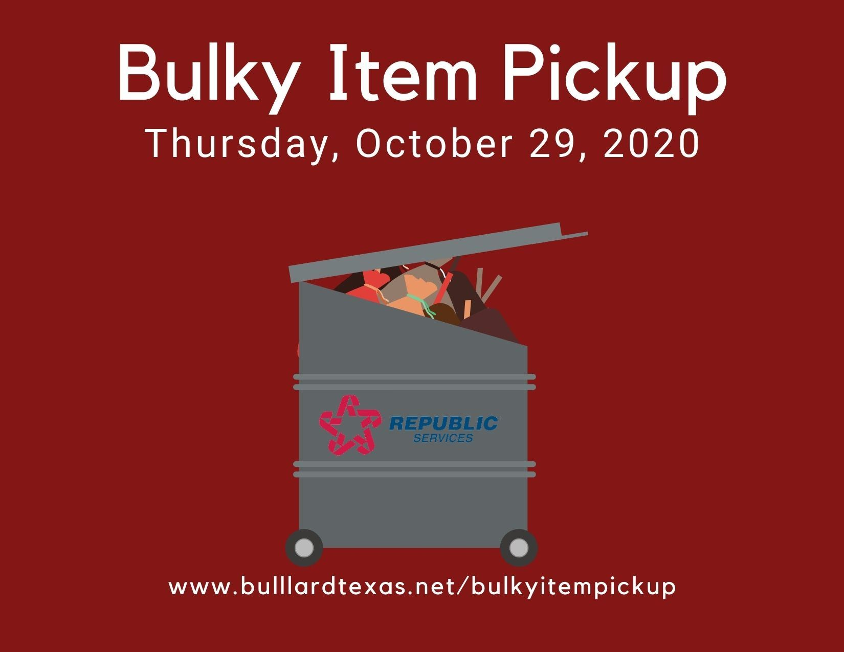 Oct. 29 Bulky item pickup